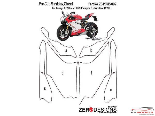 ZDPCMS002 Pre-Cut masking sheet for Ducati 1199 Panigale S - Tricolore (TAM 14132) Multimedia Accessoires
