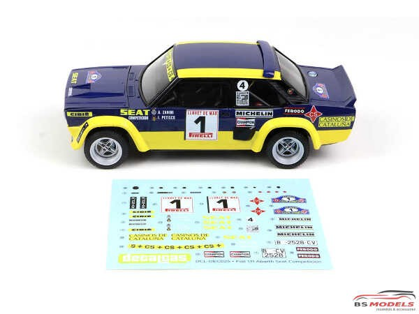 DCLDEC025 Fiat 131 Abarth Seat  Competicion  #1  Costa Brava Rally 1979 Waterslide decal Decal