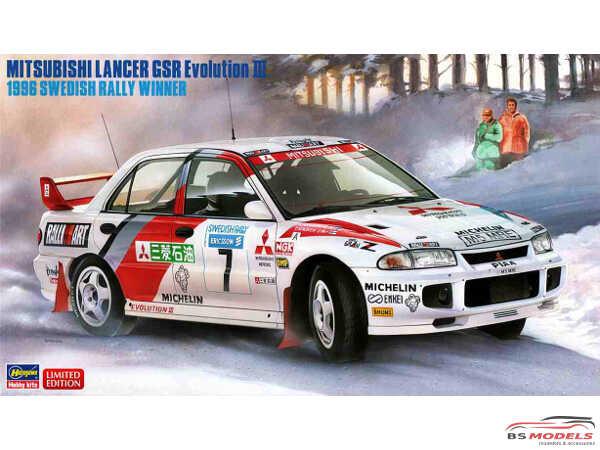 HAS20407 Mitsubishi Lancer EVO III  1996 Swedish Rally Winner Plastic Kit
