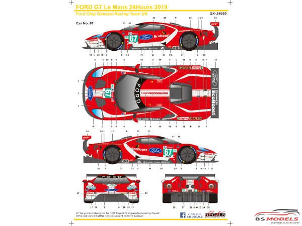 SK24095 Ford GTLM  Le Mans 24H  '19  Ford Chip Ganassi Team UK Waterslide decal Decal