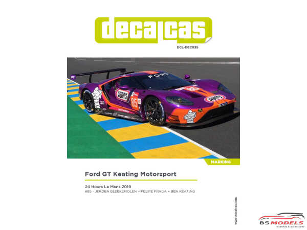 "DCLDEC035 Ford GT ""Keating Motorsport""  24H Le Mans 2019  #85 Waterslide decal Decal"