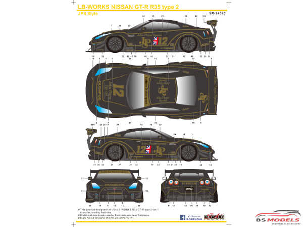 SK24096 LB-Works Nissan GT-R R35 type 2  JPS style Waterslide decal Decal
