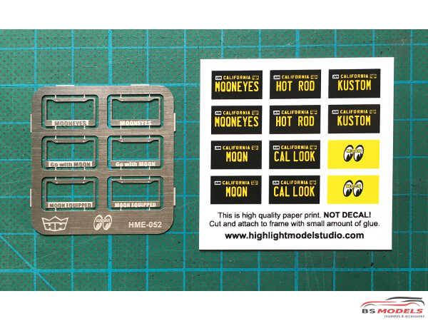 HME052 MOONEYES license plate frames + plates Etched metal Accessoires
