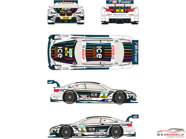 """RDT24002 BMW M3 DTM  #21  """"Ice Watch""""  2013  (M.Witmann) Waterslide decal Decal"""
