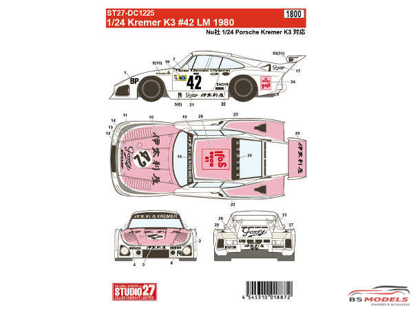 STU27DC1225 Porsche Kremer K3 #42  LM 1980 Waterslide decal Decal