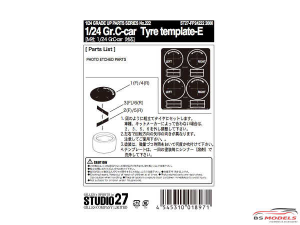 STU27FP24222 Gr. C-car Tyre Template E   (Michelin) Etched metal Accessoires