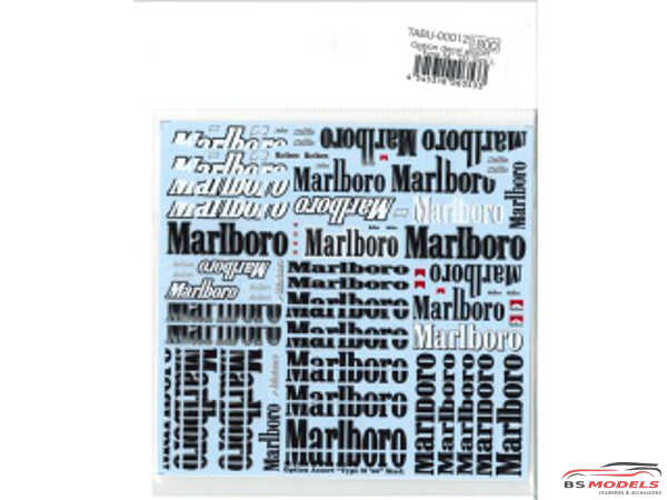 TABU00012 Assorted Mar*bor* decals for 1/20 scale Waterslide decal Decal