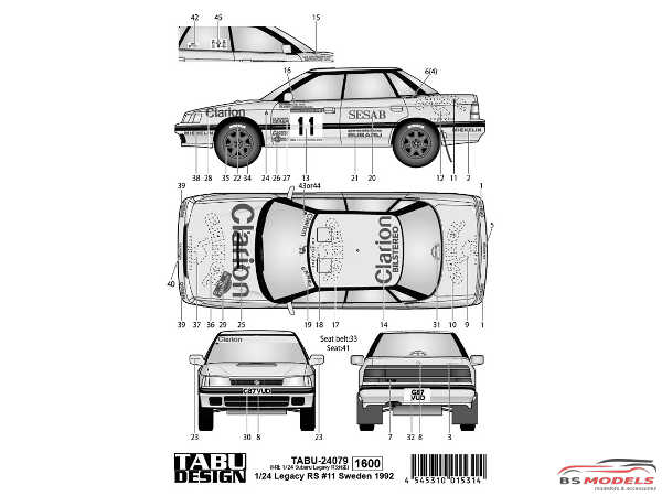 TABU24079 Subaru Legacy RS Sweden 1992  #11  Clarion / Camel Waterslide decal Decal