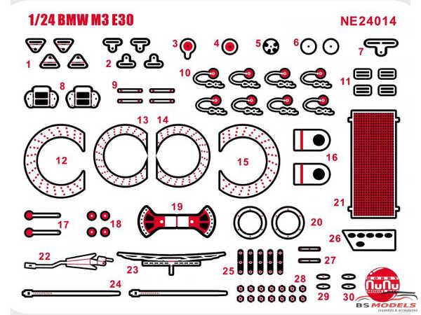 PNE24014 BMW M3 E30  1993  JTC & 1991 Macau GP Etched detail parts Etched metal Accessoires