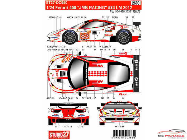 "STU27DC950 Ferrari 458 ""JMB Racing""  #83  LM 2012 Waterslide decal Decal"