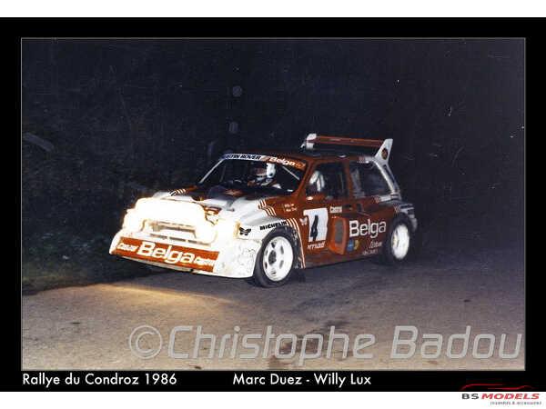 """TK24468 MG Metro 6R4  3° Rally Ypres 1986   """"BELGA"""" decal Waterslide decal Decal"""