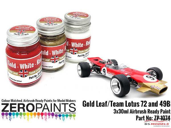 ZP1074 Gold Leaf / Team Lotus 72 Paint set 3x30ml Paint Material