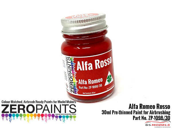 ZP1098-30 Alfa Romeo - Rosso (Red) Paint 30ml Paint Material