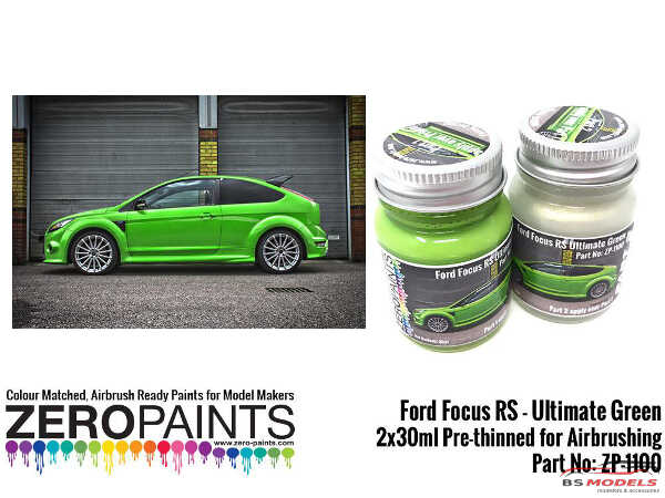 ZP1100 Ford Focus RS Ultimate Green Paint 2x30ml set Paint Material