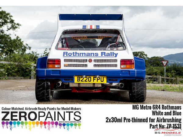 ZP1531 MG Metro 6R4 Rothmans - White and Blue Paint set 2x30ml Paint Material