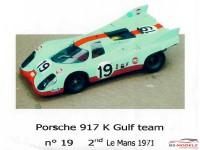 P24021K Porsche 917 K Gulf Team #19   2nd Le Mans 1971 Resin Kit