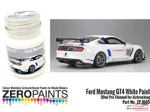 ZP1665 Ford Mustang GT4 White Paint 30ml Paint Material