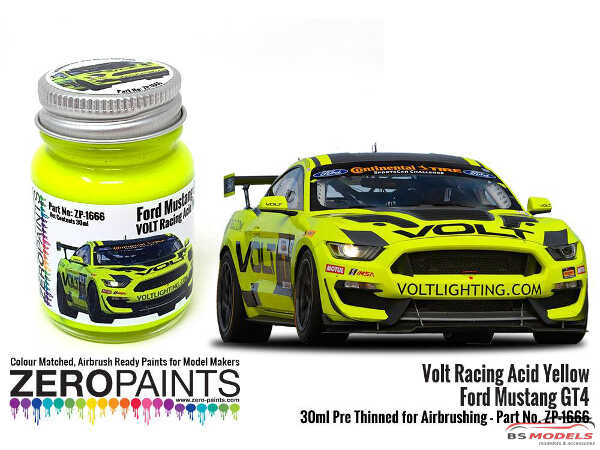 ZP1666 Volt Racing Acid Yellow for Ford Mustang GT4 Paint 30ml Paint Material