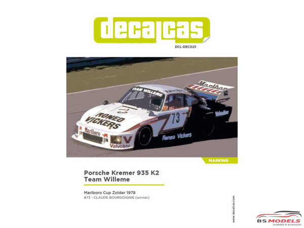 "DCLDEC023 Porsche 935 Kremer K3 ""Team Willeme""  Marlboro Cup Zolder 1978 Waterslide decal Decal"