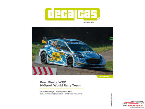 "DCLDEC028 Ford Fiesta WRC "" M-sport World Rally Team"" ADAC  Deutschland Rally 2018 Waterslide decal Decal"