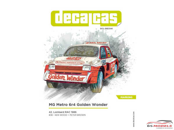 "DCLDEC041 MG Metro 6r4  ""Golden Wonder""  RAC rally 1986 Waterslide decal Decal"