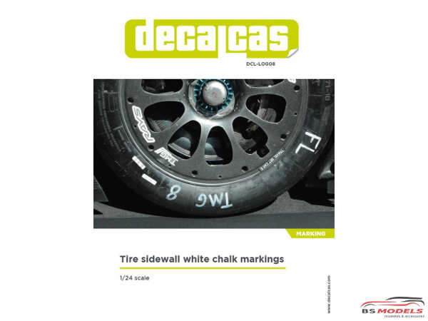 DCLLOG008 Tire sidewall white chalk markings Waterslide decal Decal
