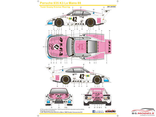 SK24105 Porsche 935 K3 Le Mans 1980 (Team Gozzy Kremer Racing) Waterslide decal Decal