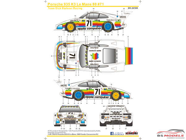 SK24106 Porsche 935 K3 Le Mans 1980 #71 (Team Dick Barbour Racing) Waterslide decal Decal