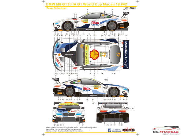 SK24109 BMW M6 GT3 GT World Cup Macau 2019 #42 (Team Schnitzer) Waterslide decal Decal