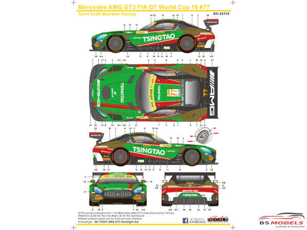 SK24110 Mercedes AMG GT3 FIA World Cup 2019  #77 (Team Craft-Bamboo Racing) Waterslide decal Decal