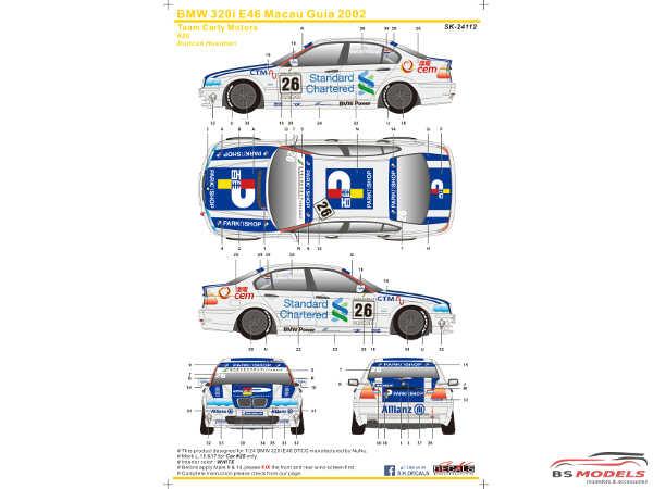 SK24112 BMW 320i E46 Macau Guia  2002  (Team Carly Motors) Waterslide decal Decal