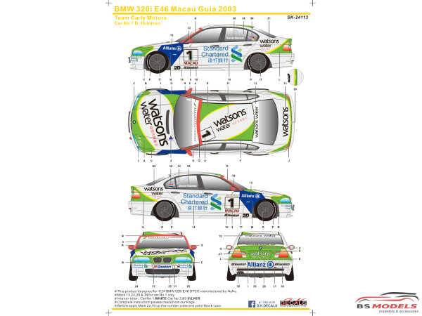 SK24113 BMW 320i E46 Macau Guia  2003  (Team Carly Motors) Waterslide decal Decal