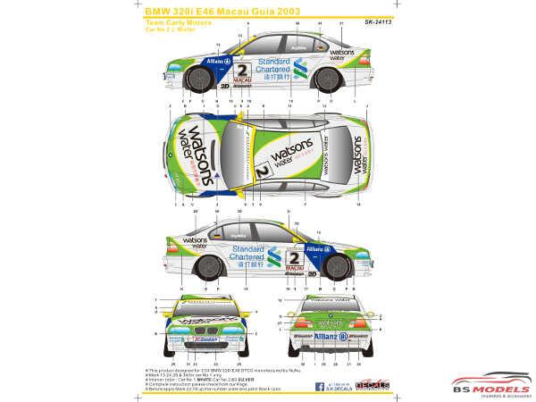 SK24113 BMW 320i E46 Macau Guia  2003  (Team Carly Motors) Waterslide decal Decal