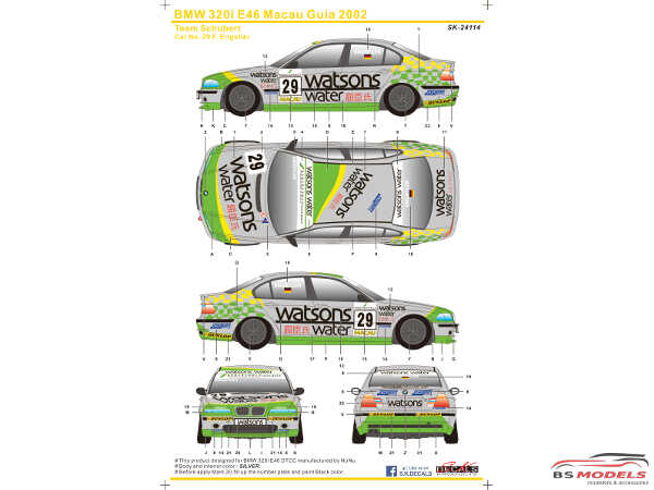 SK24114 BMW 320i E46 Macau Guia  2002  (Team Schubert) Waterslide decal Decal