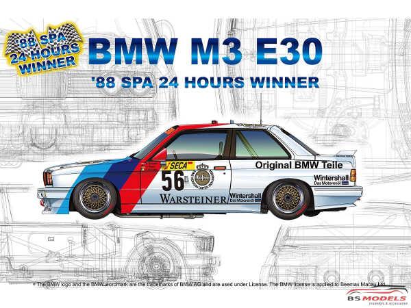 PN24017 BMW M3 E30  Spa 24H winner 1988   #56  #57 Plastic Kit