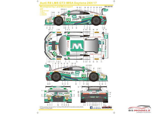 SK24118 Audi R8 LMS GT3 IMSA Daytona 24H  17  #29 Montaplas by Land Motorsport Waterslide decal Decal