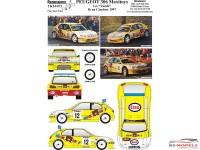 "TK24473 Peugeot 306 Maxi  ""Maxitoys""  ""Les Vandes""   8e Rally du Condroz 1997 Waterslide decal Accessoires"