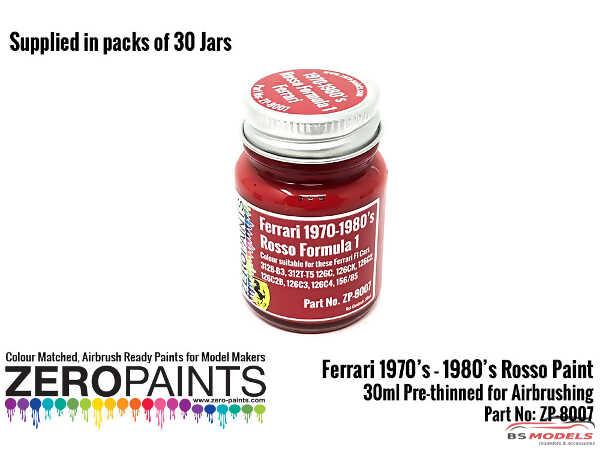 ZP1007-30-3 Ferraro Formula 1  1970s -1980s Red paint 30ml Paint Material