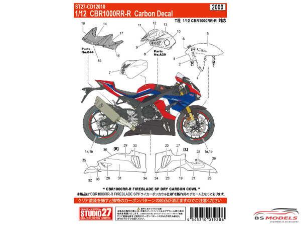 STU27CD12010 Honda CBR1000RR-R Fireblade carbon decal Waterslide decal Decal