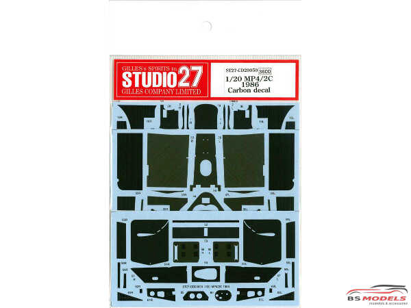 STU27CD20050 Mclaren MP4/2C 1986 Carbon Decal Waterslide decal Decal
