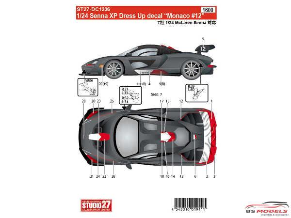 "STU27DC1236 Mclaren Senna XP Dress up decal ""Monaco #12"" Waterslide decal Decal"