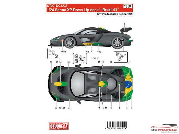 """STU27DC1237 Mclaren Senna XP Dress up decal """"Brazil #1"""" Waterslide decal Decal"""