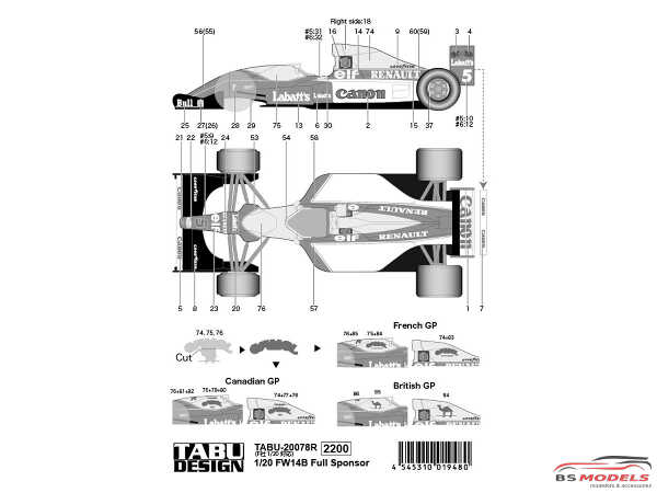 TABU20078R Williams FW14B  Full sponsor decal Waterslide decal Decal