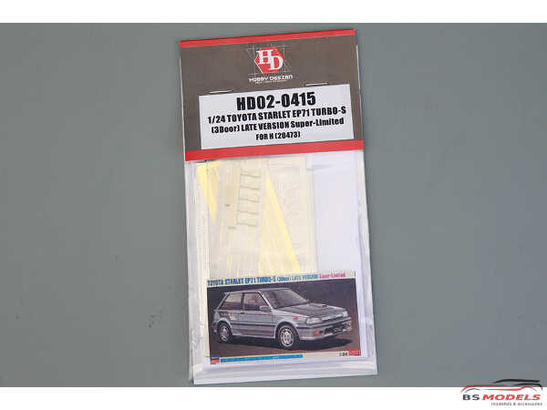 HD020415 Toyota Starlet EP71 Turbo S (3door) late version FOR HAS 20473 Etched metal Accessoires