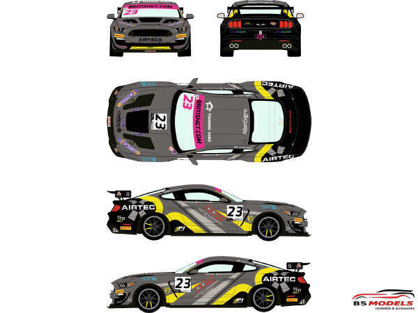 RDE24043 Ford Mustang GT4 #23 British GT 2019 Waterslide decal Decal