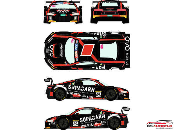 RDE24044 Audi R8  LMS GT3  #69A  Liqui Molly  12h of Bathurts 2018 Waterslide decal Decal