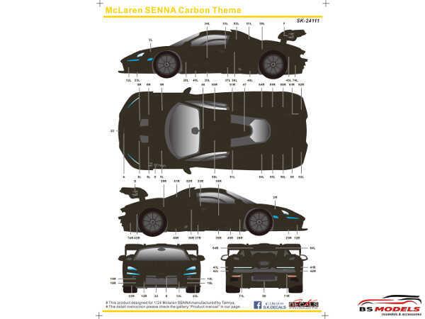 SK24111 Mclaren Senna Carbon theme Waterslide decal Decal