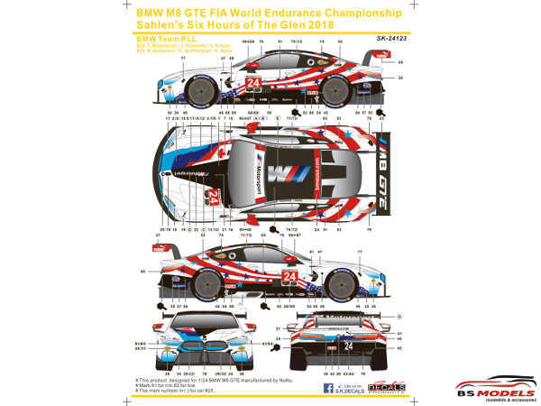 SK24123 BMW M8 GTE WEC Sahlen Six Hours of the Glen 2018  Team TLL Waterslide decal Decal