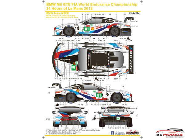 SK24124 BMW M8 GTE WEC  24H of Le Mans 2018 #81  Team MTEK Waterslide decal Decal