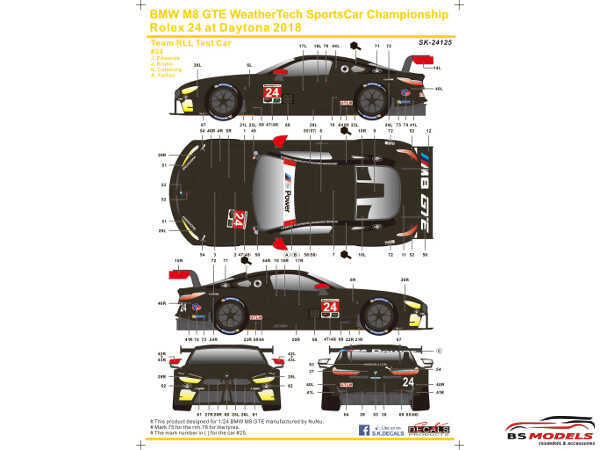 SK24125 BMW M8 GTE  WSC  Rolex 24H Daytona 2018  Team RLL #24  TEST CAR Waterslide decal Decal